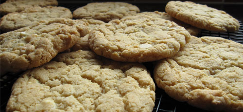 Handmade white chocolate chip cookies